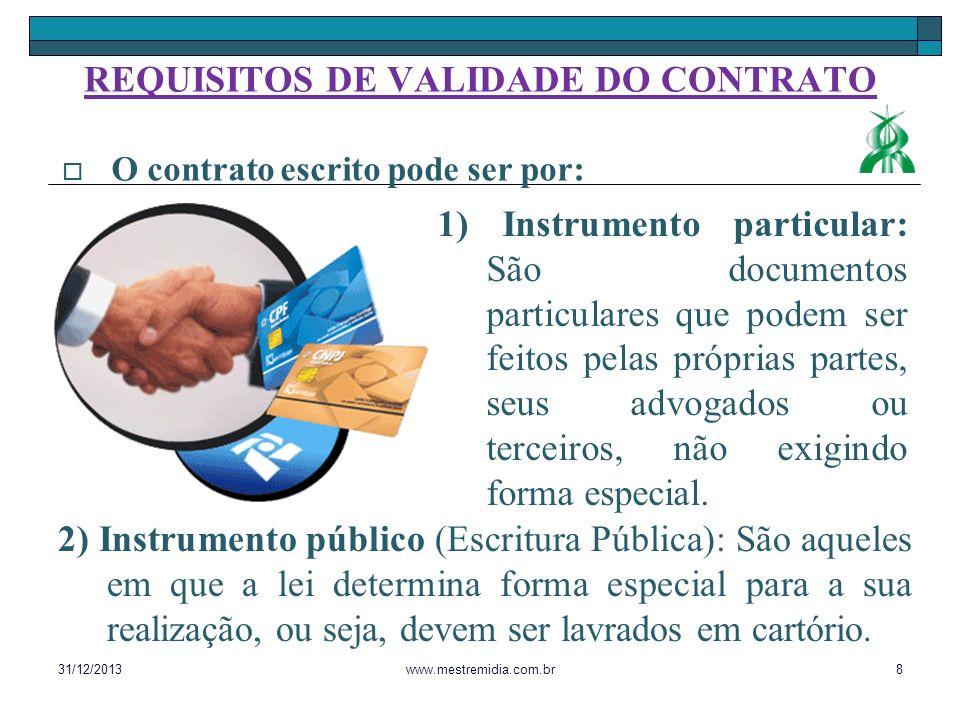 1) Instrumento particular: São documentos particulares que podem ser feitos pelas próprias partes, seus advogados ou terceiros, não exigindo forma esp