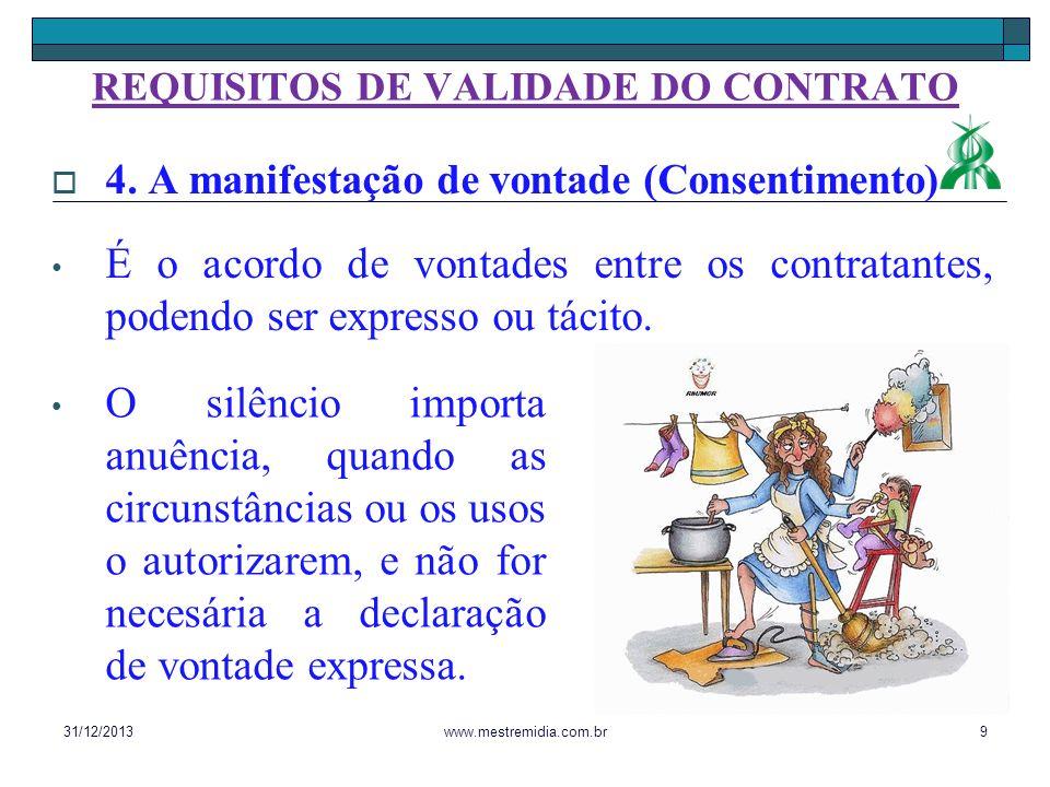 4. A manifestação de vontade (Consentimento) É o acordo de vontades entre os contratantes, podendo ser expresso ou tácito. 31/12/20139www.mestremidia.