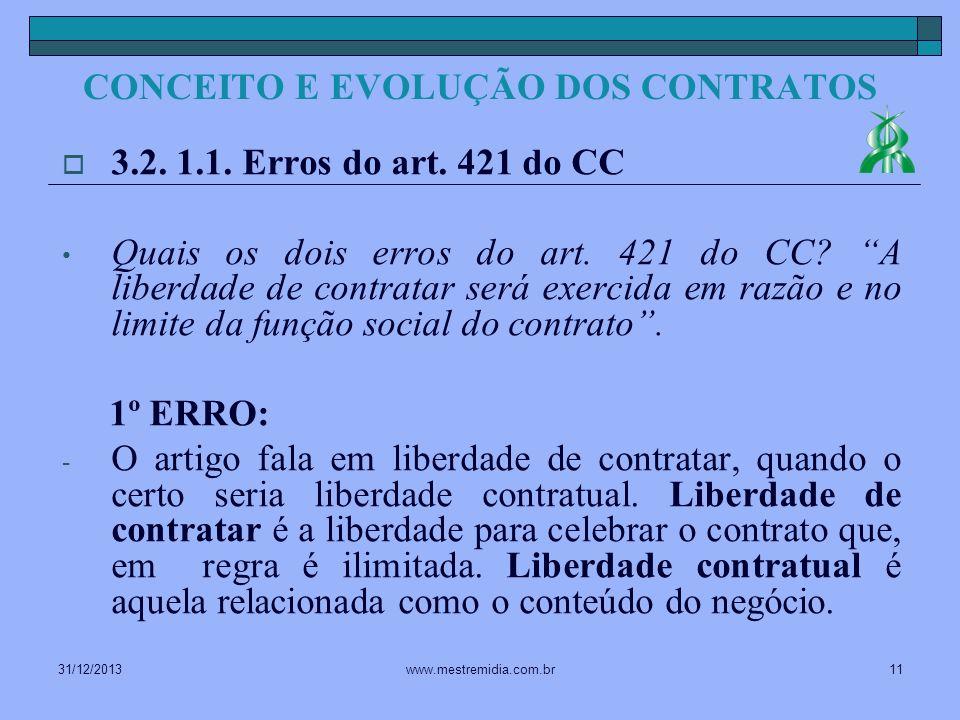 31/12/201311www.mestremidia.com.br 3.2. 1.1. Erros do art. 421 do CC Quais os dois erros do art. 421 do CC? A liberdade de contratar será exercida em