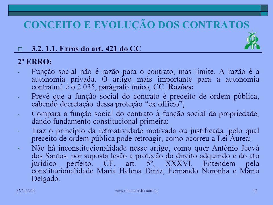 31/12/201312www.mestremidia.com.br 3.2. 1.1. Erros do art. 421 do CC 2º ERRO: - Função social não é razão para o contrato, mas limite. A razão é a aut