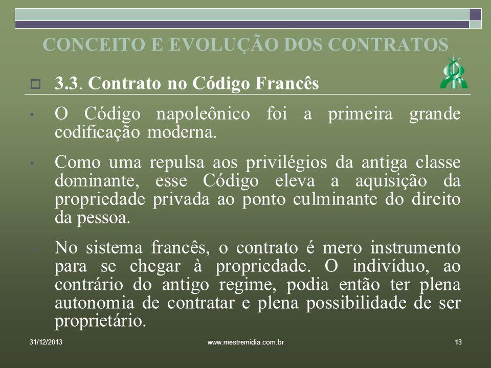 3.3. Contrato no Código Francês O Código napoleônico foi a primeira grande codificação moderna. Como uma repulsa aos privilégios da antiga classe domi