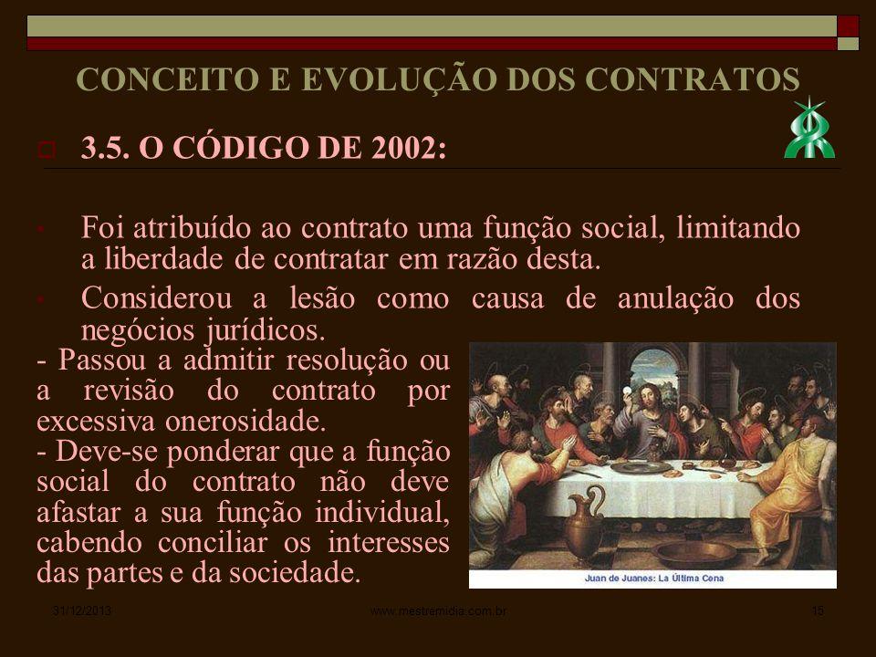 3.5. O CÓDIGO DE 2002: Foi atribuído ao contrato uma função social, limitando a liberdade de contratar em razão desta. Considerou a lesão como causa d