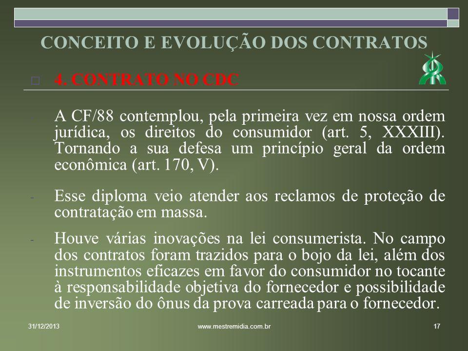 4. CONTRATO NO CDC - A CF/88 contemplou, pela primeira vez em nossa ordem jurídica, os direitos do consumidor (art. 5, XXXIII). Tornando a sua defesa