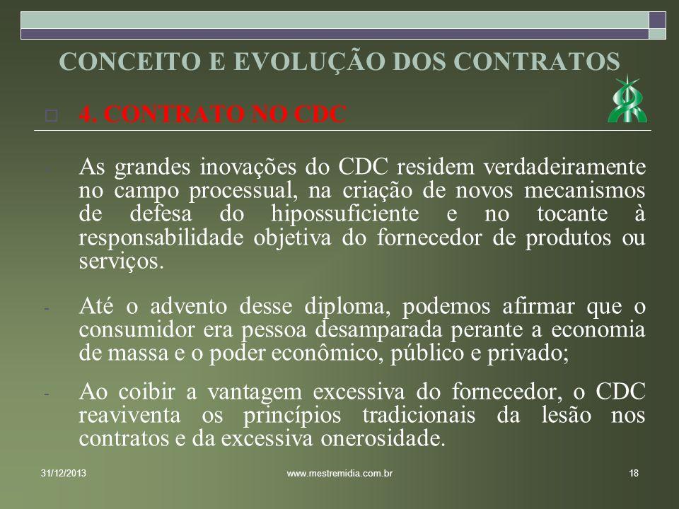 4. CONTRATO NO CDC - As grandes inovações do CDC residem verdadeiramente no campo processual, na criação de novos mecanismos de defesa do hipossuficie