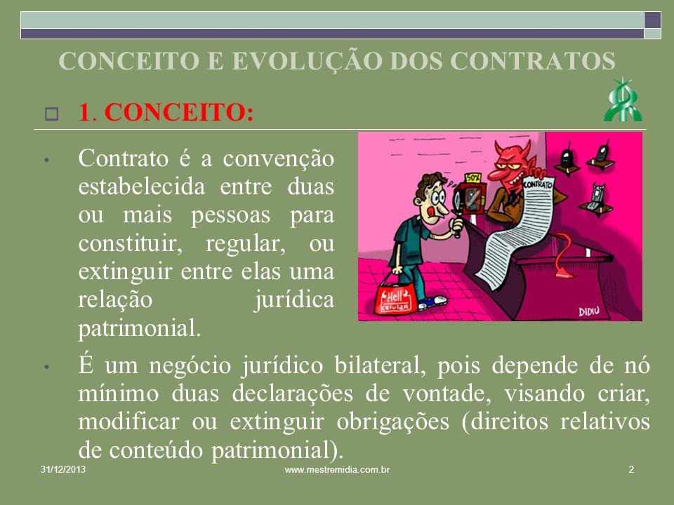 CONCEITO E EVOLUÇÃO DOS CONTRATOS 1. CONCEITO: Contrato é a convenção estabelecida entre duas ou mais pessoas para constituir, regular, ou extinguir e