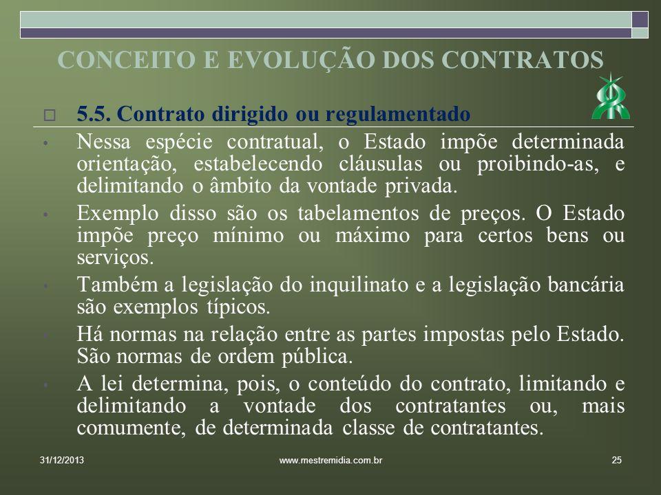 5.5. Contrato dirigido ou regulamentado Nessa espécie contratual, o Estado impõe determinada orientação, estabelecendo cláusulas ou proibindo-as, e de