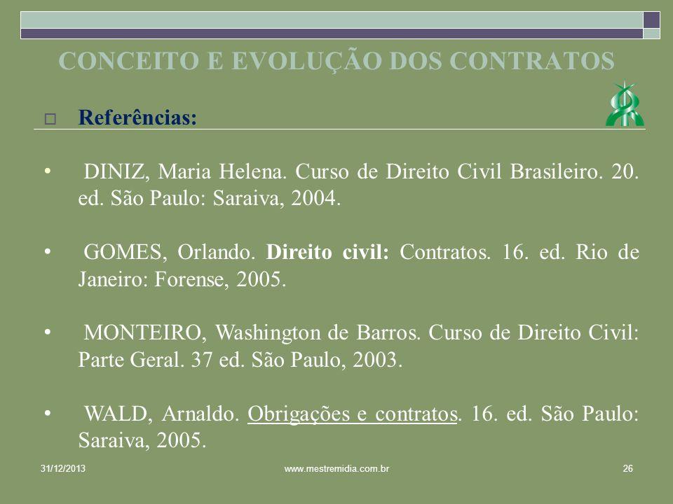31/12/201326www.mestremidia.com.br Referências: DINIZ, Maria Helena. Curso de Direito Civil Brasileiro. 20. ed. São Paulo: Saraiva, 2004. GOMES, Orlan