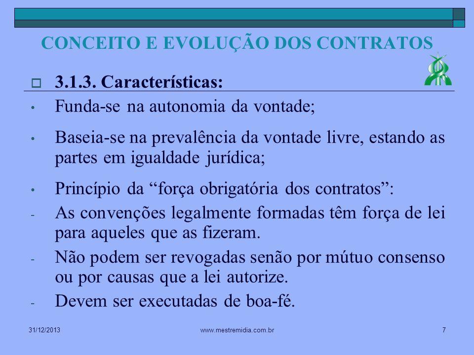 31/12/20137www.mestremidia.com.br 3.1.3. Características: Funda-se na autonomia da vontade; Baseia-se na prevalência da vontade livre, estando as part