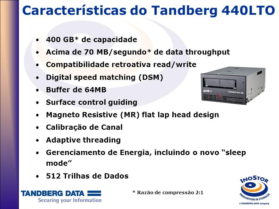 Características do Tandberg 440LTO 400 GB* de capacidade Acima de 70 MB/segundo* de data throughput Compatibilidade retroativa read/write Digital spee