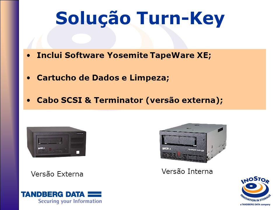 Solução Turn-Key Inclui Software Yosemite TapeWare XE; Cartucho de Dados e Limpeza; Cabo SCSI & Terminator (versão externa); Versão Externa Versão Int