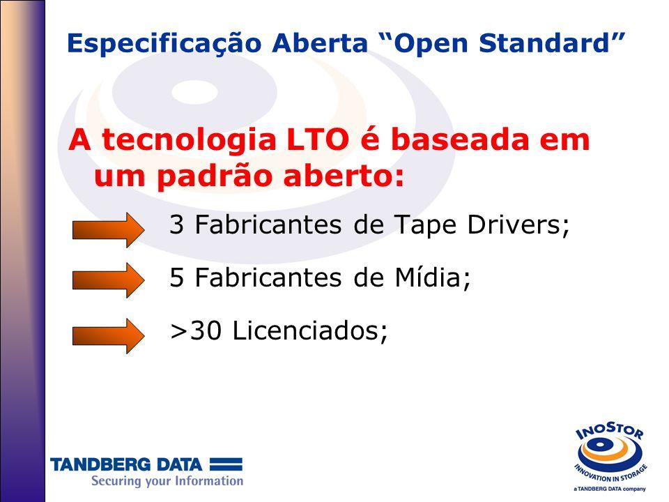 Especificação Aberta Open Standard A tecnologia LTO é baseada em um padrão aberto: 3 Fabricantes de Tape Drivers; 5 Fabricantes de Mídia; >30 Licencia