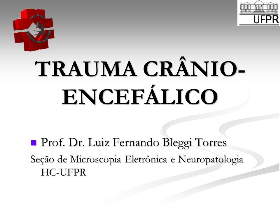 TRAUMA CRÂNIO- ENCEFÁLICO Prof. Dr. Luiz Fernando Bleggi Torres Prof. Dr. Luiz Fernando Bleggi Torres Seção de Microscopia Eletrônica e Neuropatologia