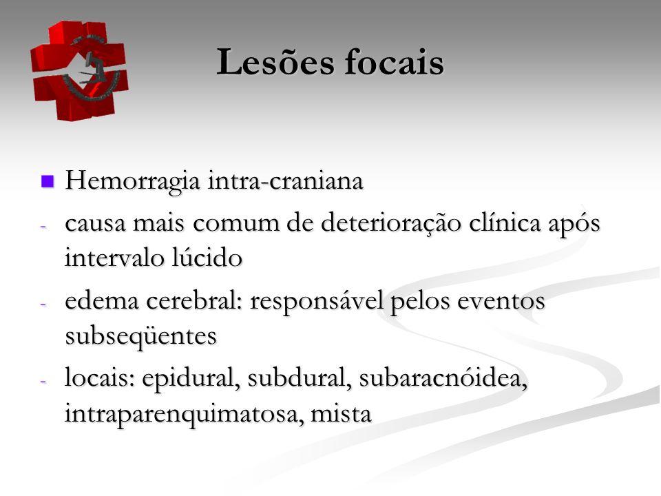 Lesões focais Hemorragia intra-craniana Hemorragia intra-craniana - causa mais comum de deterioração clínica após intervalo lúcido - edema cerebral: r