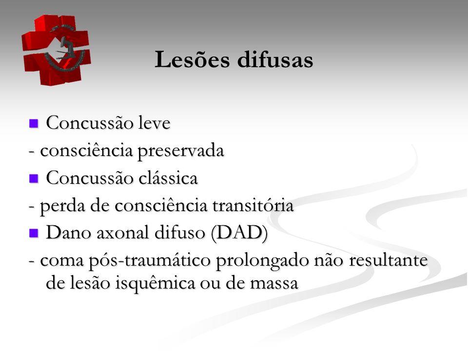 Lesões difusas Concussão leve Concussão leve - consciência preservada Concussão clássica Concussão clássica - perda de consciência transitória Dano ax