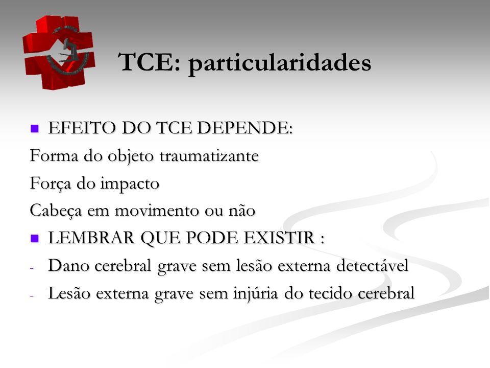 TCE: particularidades EFEITO DO TCE DEPENDE: EFEITO DO TCE DEPENDE: Forma do objeto traumatizante Força do impacto Cabeça em movimento ou não LEMBRAR