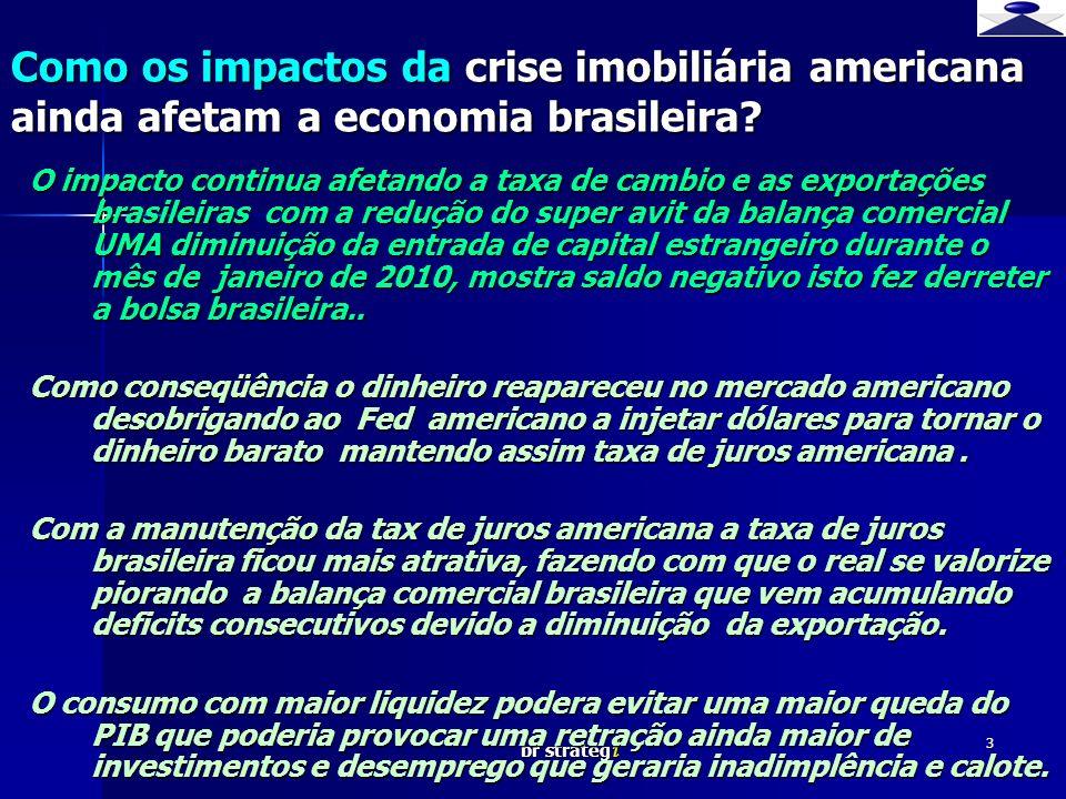 br strateg i 3 O impacto continua afetando a taxa de cambio e as exportações brasileiras com a redução do super avit da balança comercial UMA diminuiç