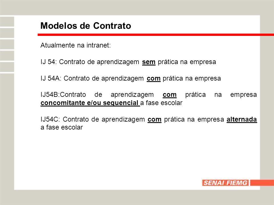 Modelos de Contrato Atualmente na intranet: IJ 54: Contrato de aprendizagem sem prática na empresa IJ 54A: Contrato de aprendizagem com prática na emp