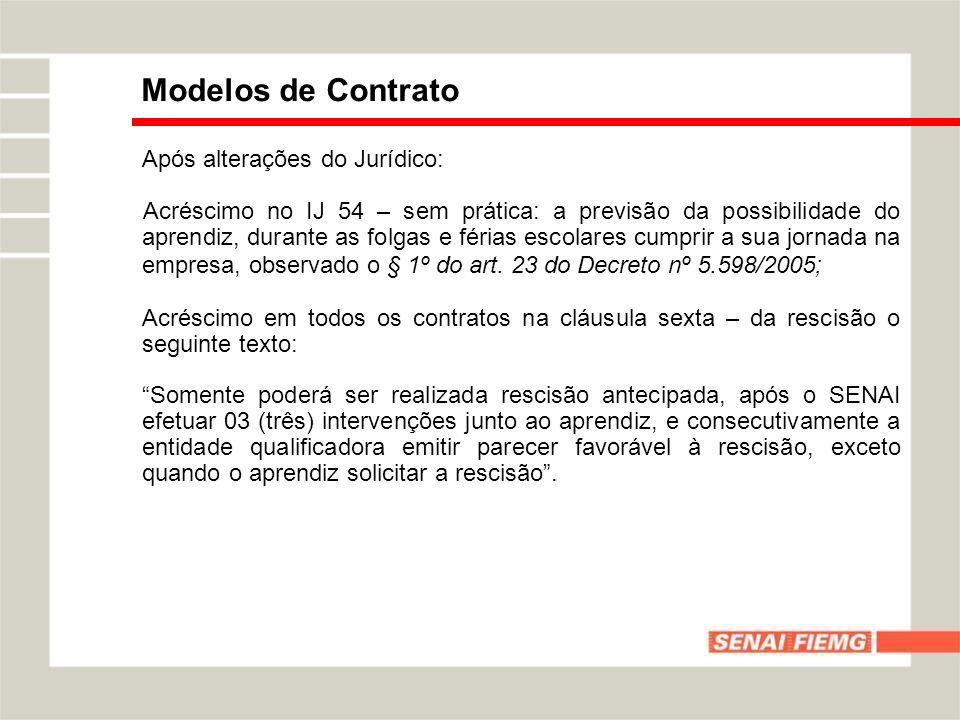 Modelos de Contrato Após alterações do Jurídico: Acréscimo no IJ 54 – sem prática: a previsão da possibilidade do aprendiz, durante as folgas e férias