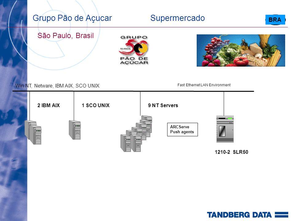 Grupo Pão de Açucar Supermercado São Paulo, Brasil 1210-2 SLR50 2 IBM AIX ARCServe Push agents BRA Fast Ethernet LAN Environment 9 NT Servers Win NT, Netware, IBM AIX, SCO UNIX 1 SCO UNIX