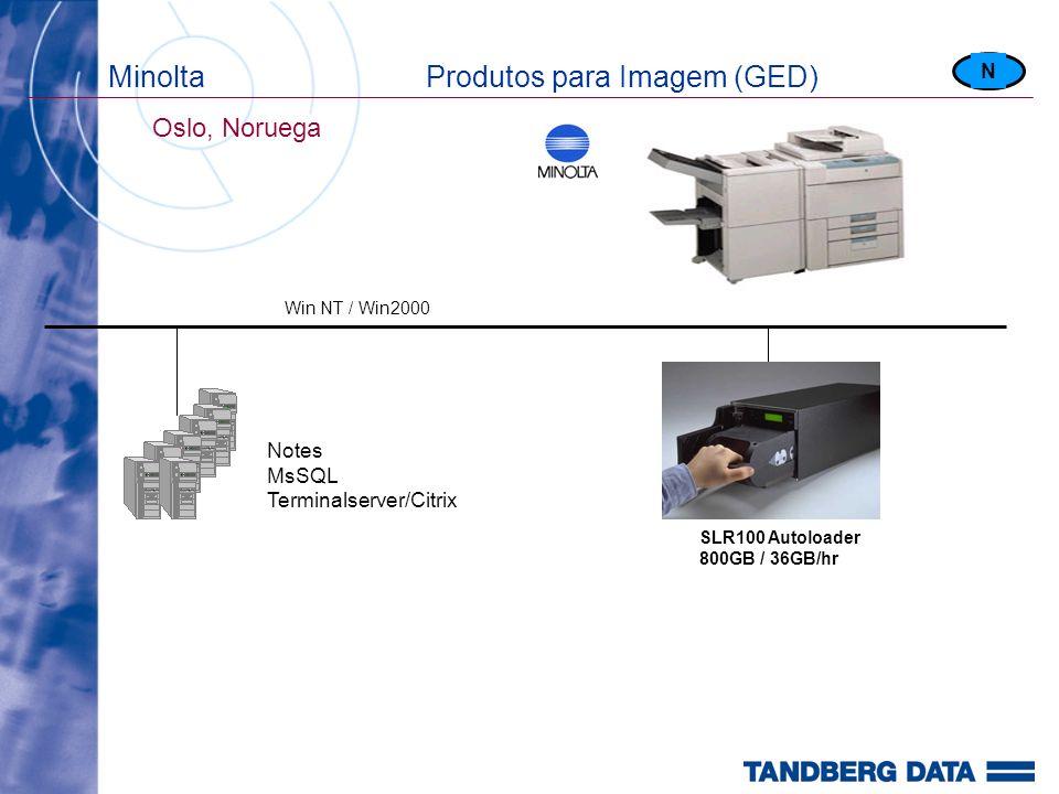 Minolta Produtos para Imagem (GED) Oslo, Noruega SLR100 Autoloader 800GB / 36GB/hr N Win NT / Win2000 Notes MsSQL Terminalserver/Citrix