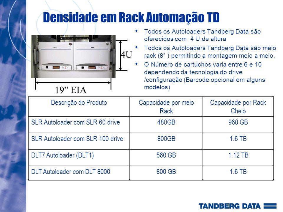 Densidade em Rack Automação TD Todos os Autoloaders Tandberg Data são oferecidos com 4 U de altura Todos os Autoloaders Tandberg Data são meio rack (8