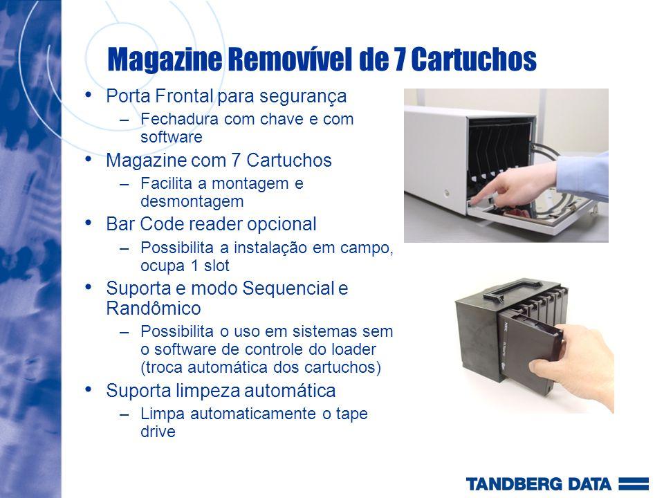 Magazine Removível de 7 Cartuchos Porta Frontal para segurança –Fechadura com chave e com software Magazine com 7 Cartuchos –Facilita a montagem e des