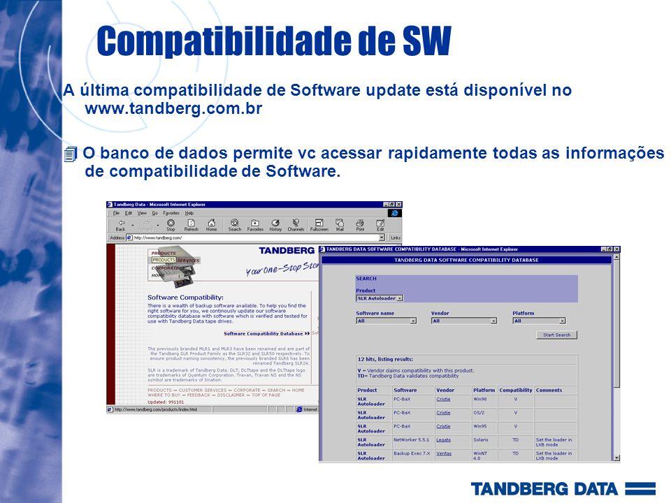Compatibilidade de SW A última compatibilidade de Software update está disponível no www.tandberg.com.br O banco de dados permite vc acessar rapidamen