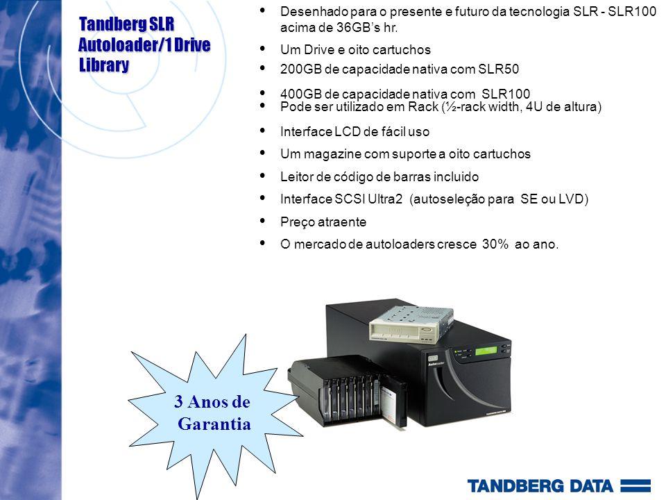 Desenhado para o presente e futuro da tecnologia SLR - SLR100 acima de 36GBs hr. Um Drive e oito cartuchos 200GB de capacidade nativa com SLR50 400GB