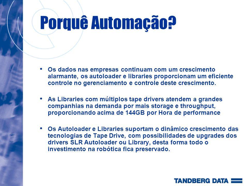 Automation Roadmap SLR AUTOLOADER 240/800GB 14.4/36GB/h DLT AUTOLOADER 280/560GB 21.6/43.2GB/h SLR LIBRARY 1210 0.5/1TB 36/72GB/h SLR LIBRARY 1420 1/2TB 72/144GB/h SLR LIBRARY1440 2/4TB 72/144GB/h SDLT* LIBRARY 4/8TB 144/288GB/h