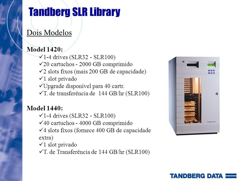Tandberg SLR Library Dois Modelos Model 1420: 1-4 drives (SLR32 - SLR100) 20 cartuchos - 2000 GB comprimido 2 slots fixos (mais 200 GB de capacidade)