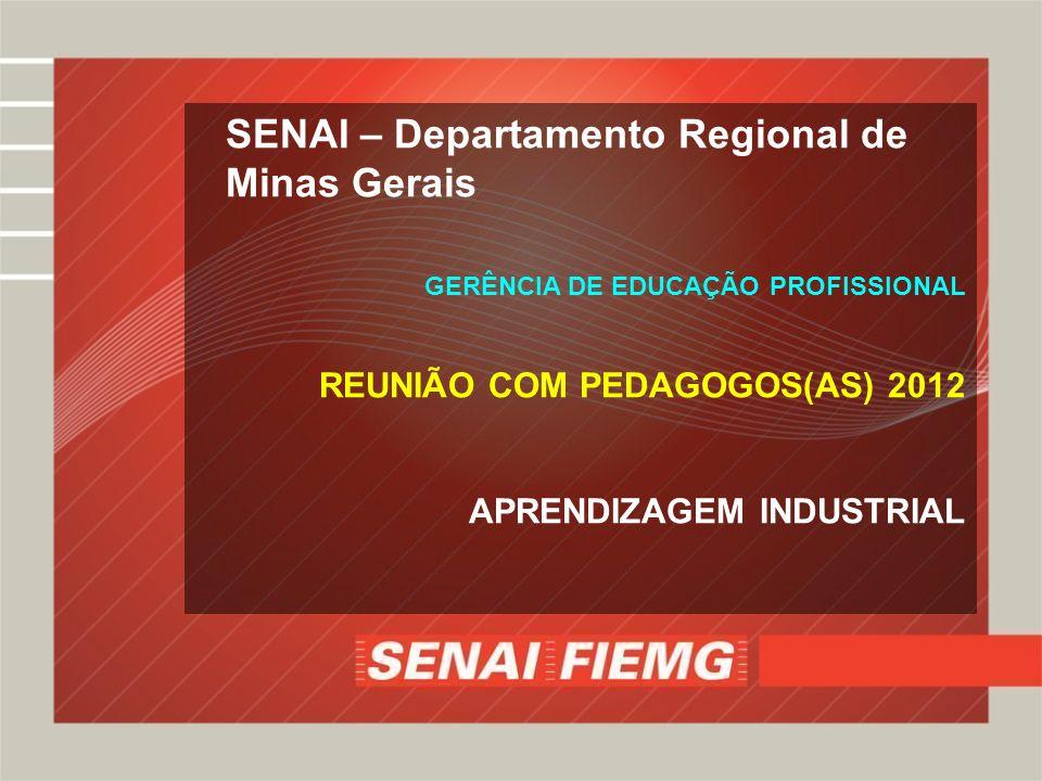 SENAI – Departamento Regional de Minas Gerais GERÊNCIA DE EDUCAÇÃO PROFISSIONAL REUNIÃO COM PEDAGOGOS(AS) 2012 APRENDIZAGEM INDUSTRIAL
