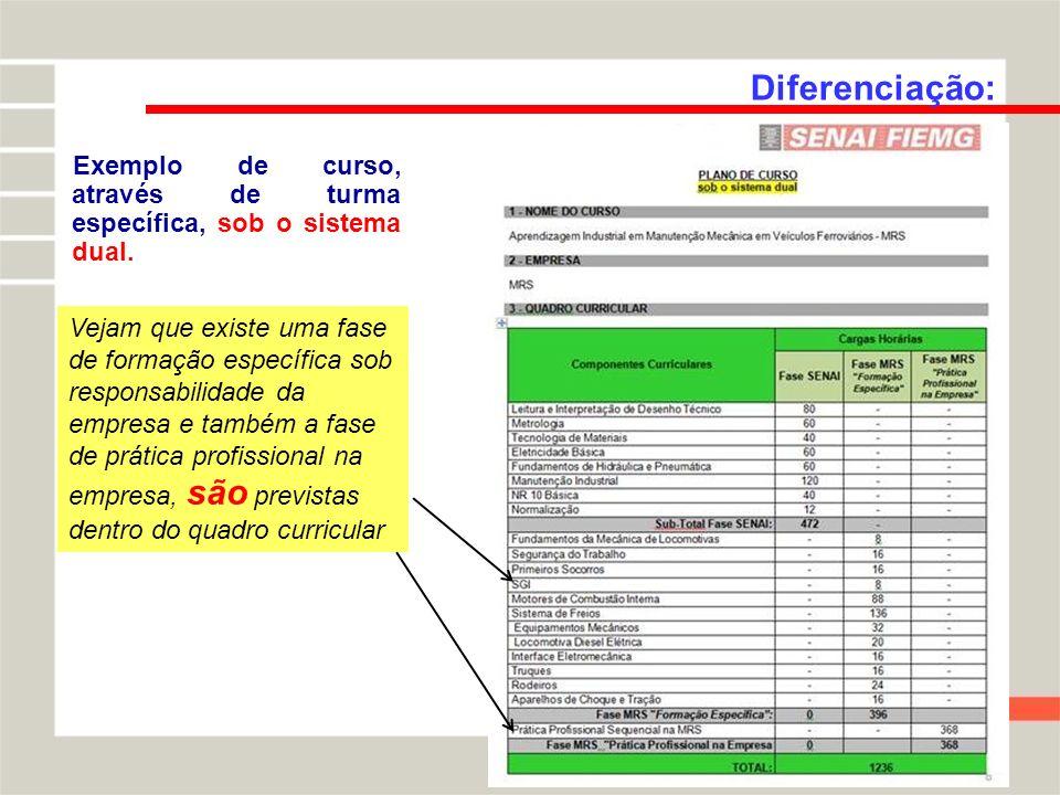 Diferenciação: Exemplo de curso, através de turma específica, sob o sistema dual. Vejam que existe uma fase de formação específica sob responsabilidad
