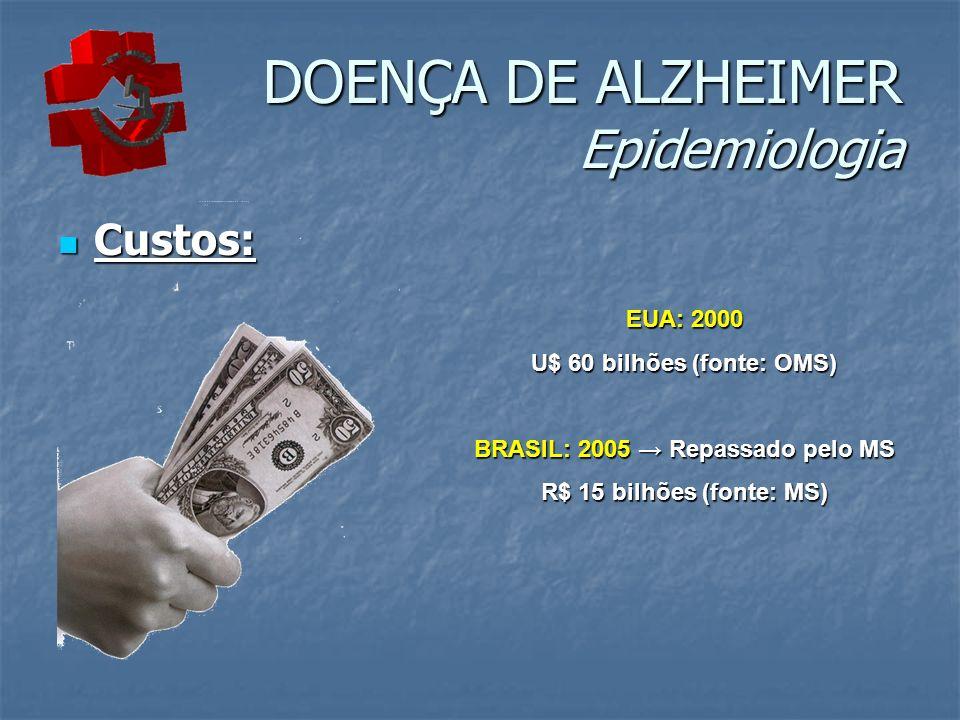 DOENÇA DE ALZHEIMER Epidemiologia Custos: Custos: EUA: 2000 U$ 60 bilhões (fonte: OMS) BRASIL: 2005 Repassado pelo MS R$ 15 bilhões (fonte: MS)
