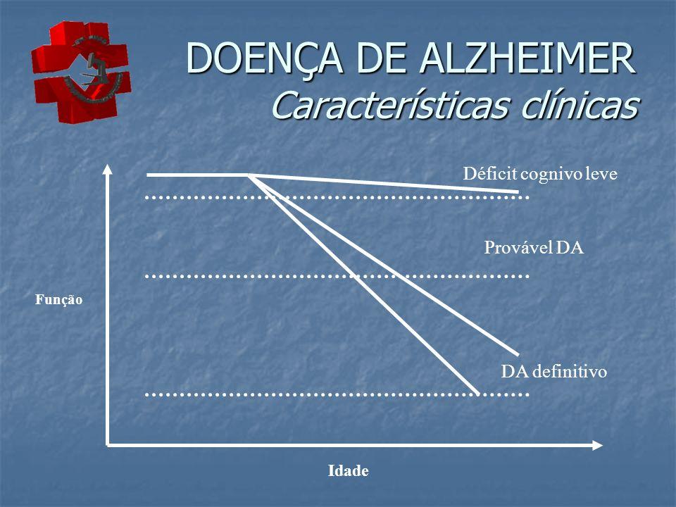 Idade Função Déficit cognivo leve Provável DA DA definitivo DOENÇA DE ALZHEIMER Características clínicas