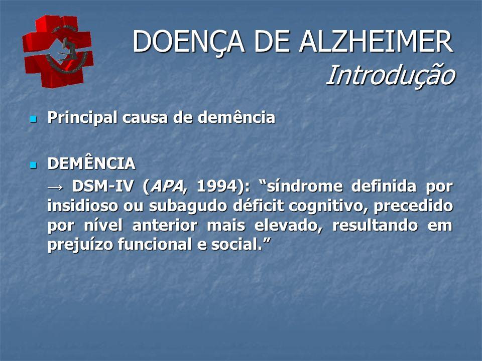 DOENÇA DE ALZHEIMER Introdução Principal causa de demência Principal causa de demência DEMÊNCIA DEMÊNCIA DSM-IV (APA, 1994): síndrome definida por insidioso ou subagudo déficit cognitivo, precedido por nível anterior mais elevado, resultando em prejuízo funcional e social.