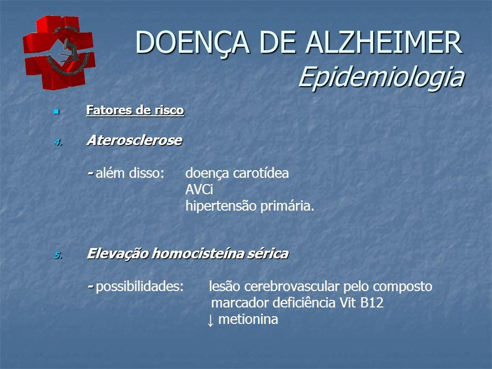 DOENÇA DE ALZHEIMER Epidemiologia Fatores de risco Fatores de risco 4. Aterosclerose - - além disso: doença carotídea AVCi hipertensão primária. 5. El