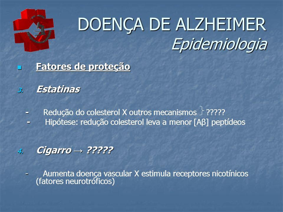 DOENÇA DE ALZHEIMER Epidemiologia Fatores de proteção Fatores de proteção 3. Estatinas - - Redução do colesterol X outros mecanismos ????? - - Hipótes