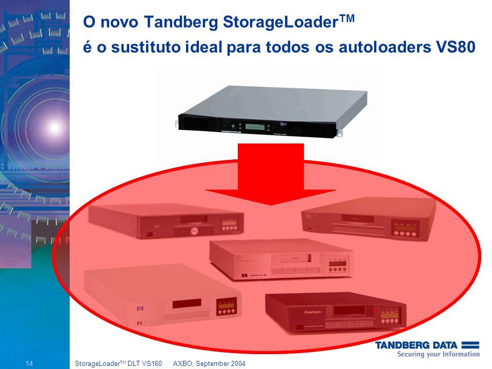 14 StorageLoader TM DLT VS160AXBO, September 2004 O novo Tandberg StorageLoader TM é o sustituto ideal para todos os autoloaders VS80