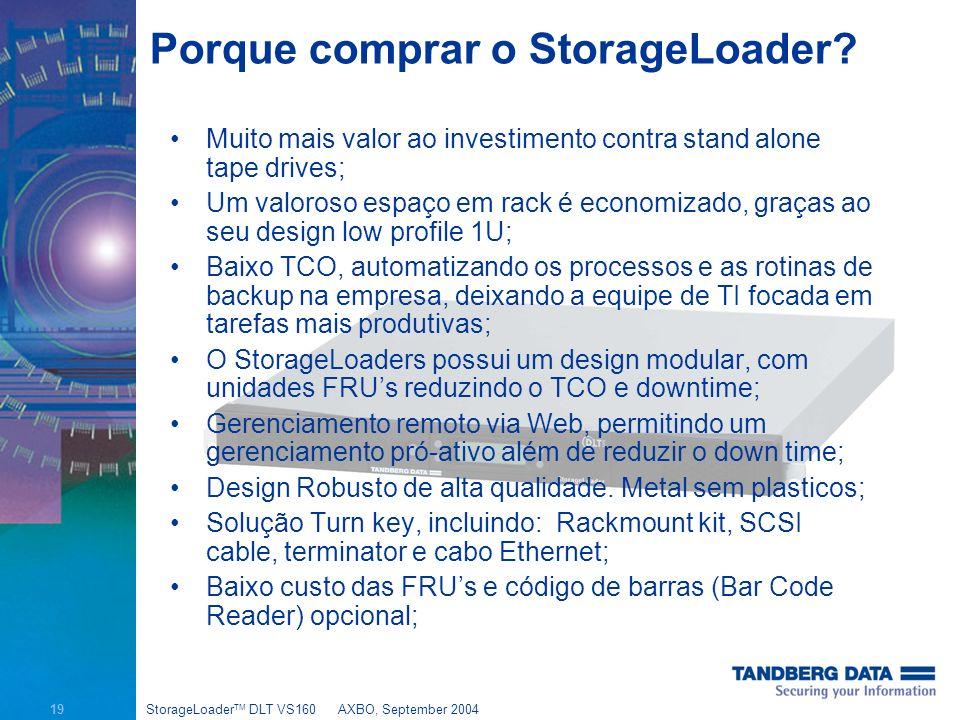 19 StorageLoader TM DLT VS160AXBO, September 2004 Porque comprar o StorageLoader.