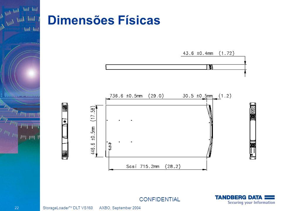 22 StorageLoader TM DLT VS160AXBO, September 2004 Dimensões Físicas CONFIDENTIAL