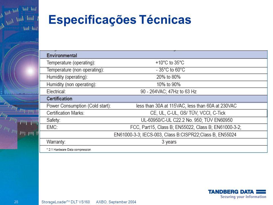 28 StorageLoader TM DLT VS160AXBO, September 2004 Especificações Técnicas