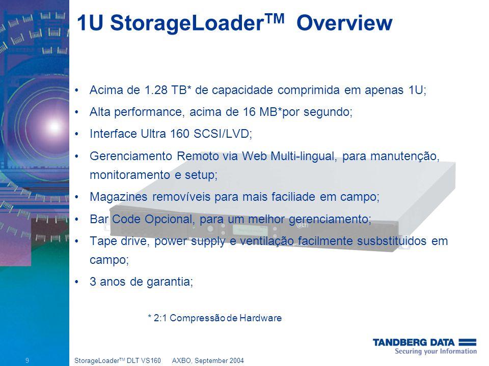 9 StorageLoader TM DLT VS160AXBO, September 2004 1U StorageLoader TM Overview Acima de 1.28 TB* de capacidade comprimida em apenas 1U; Alta performance, acima de 16 MB*por segundo; Interface Ultra 160 SCSI/LVD; Gerenciamento Remoto via Web Multi-lingual, para manutenção, monitoramento e setup; Magazines removíveis para mais faciliade em campo; Bar Code Opcional, para um melhor gerenciamento; Tape drive, power supply e ventilação facilmente susbstituidos em campo; 3 anos de garantia; * 2:1 Compressão de Hardware