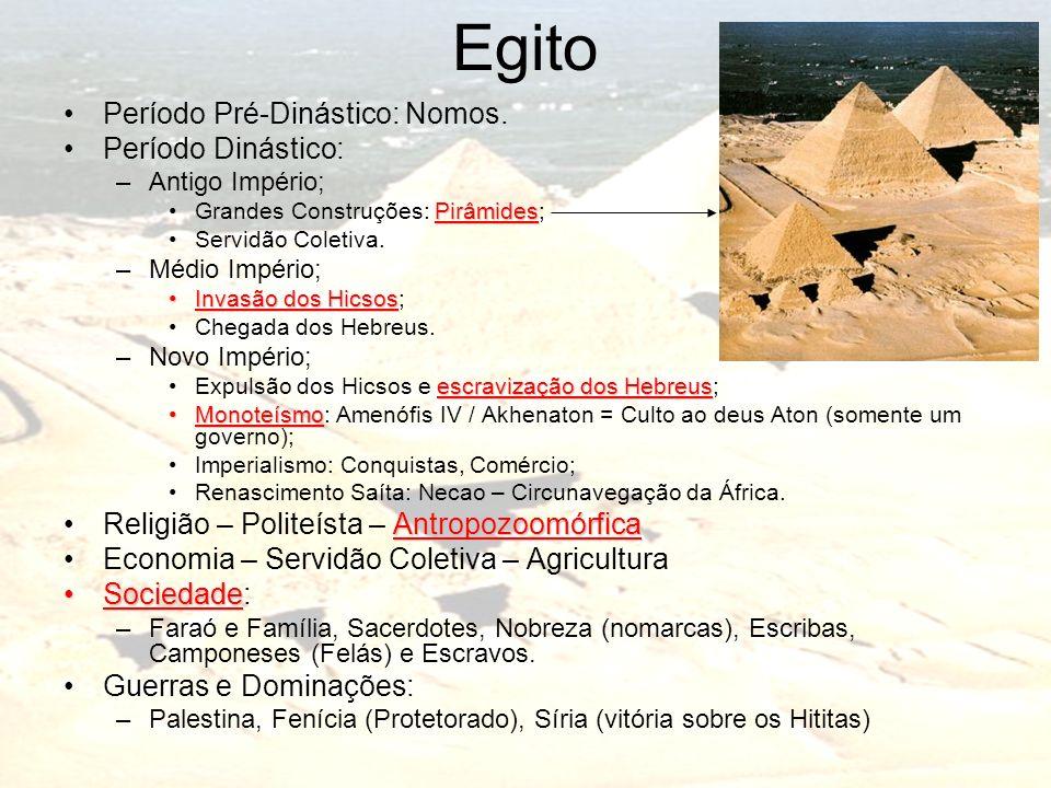 Egito Período Pré-Dinástico: Nomos. Período Dinástico: –Antigo Império; PirâmidesGrandes Construções: Pirâmides; Servidão Coletiva. –Médio Império; In