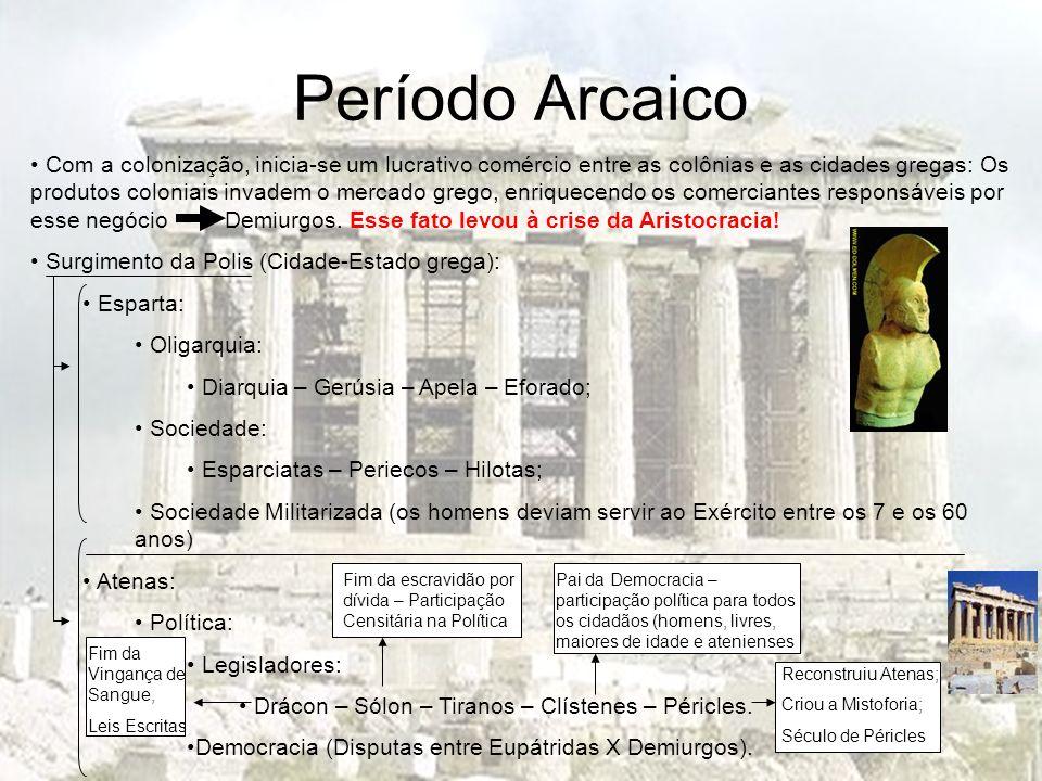 Período Arcaico Com a colonização, inicia-se um lucrativo comércio entre as colônias e as cidades gregas: Os produtos coloniais invadem o mercado greg