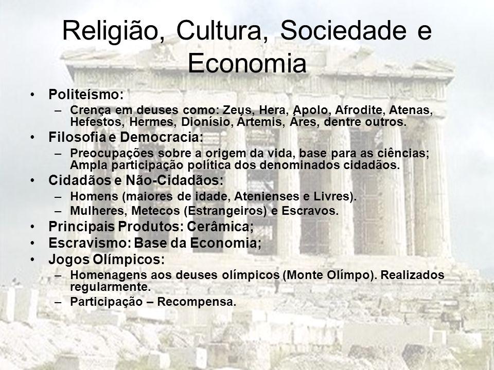 Religião, Cultura, Sociedade e Economia Politeísmo: –Crença em deuses como: Zeus, Hera, Apolo, Afrodite, Atenas, Hefestos, Hermes, Dionísio, Ártemis,