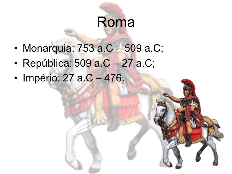 Roma Monarquia: 753 a.C – 509 a.C; República: 509 a.C – 27 a.C; Império: 27 a.C – 476.