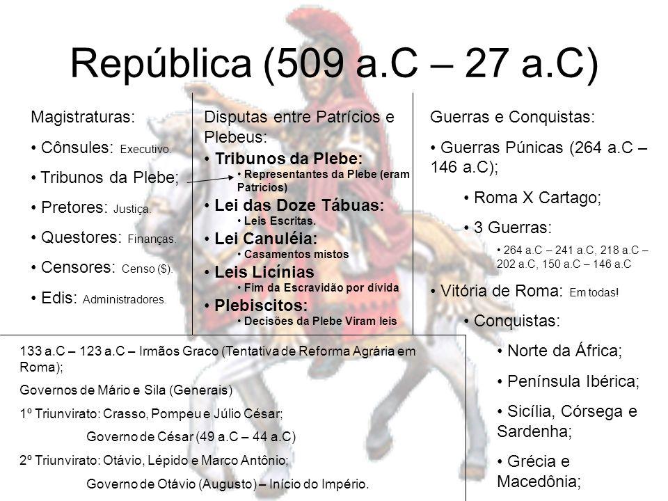 República (509 a.C – 27 a.C) Magistraturas: Cônsules: Executivo. Tribunos da Plebe; Pretores: Justiça. Questores: Finanças. Censores: Censo ($). Edis: