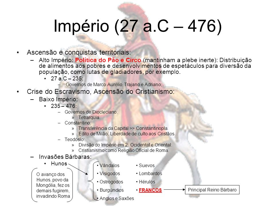 Império (27 a.C – 476) Ascensão e conquistas territoriais: –Alto Império: Política do Pão e Circo (mantinham a plebe inerte): Distribuição de alimento