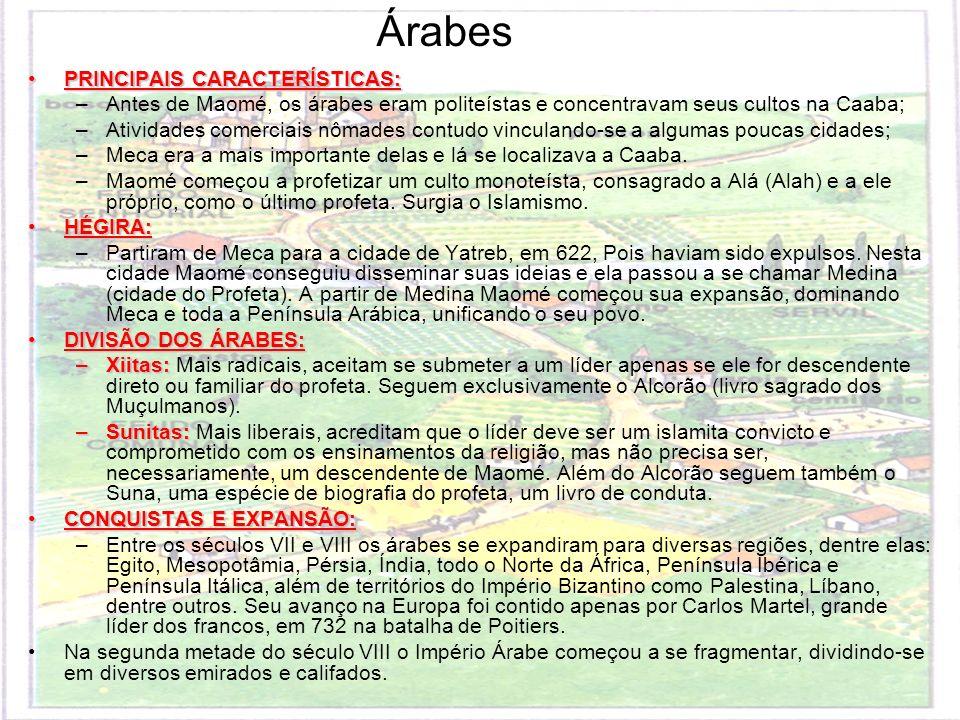 PRINCIPAIS CARACTERÍSTICAS:PRINCIPAIS CARACTERÍSTICAS: –Antes de Maomé, os árabes eram politeístas e concentravam seus cultos na Caaba; –Atividades co