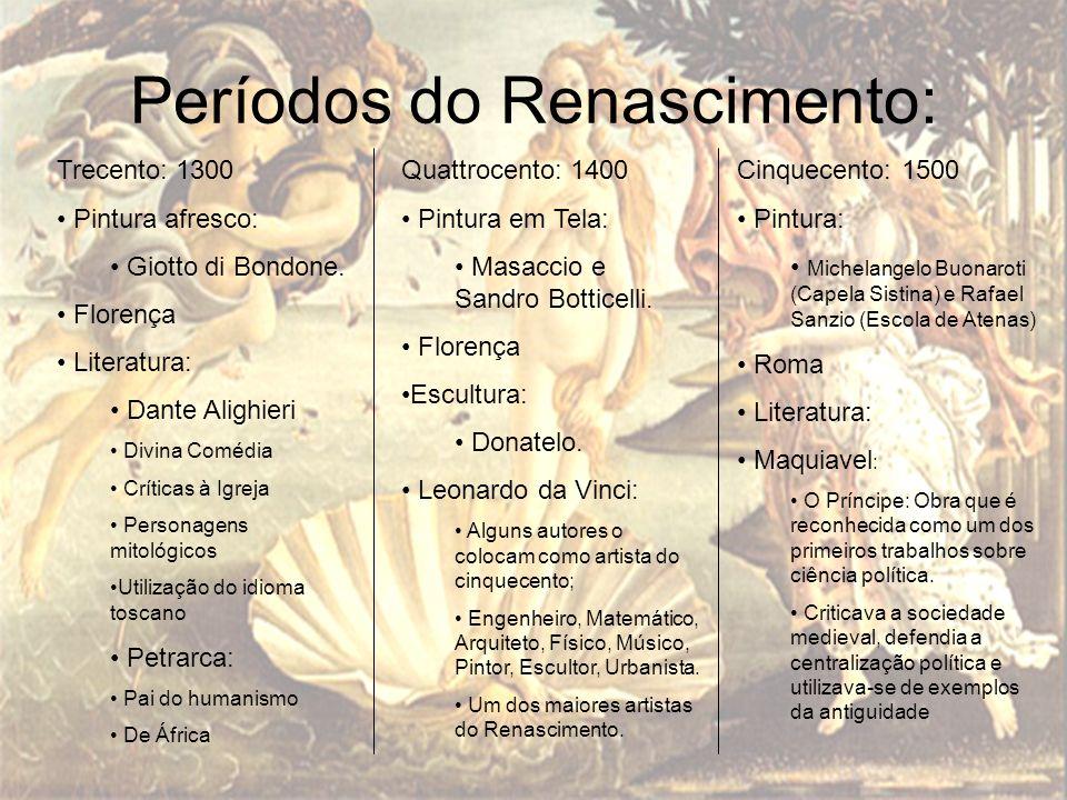 Períodos do Renascimento: Trecento: 1300 Pintura afresco: Giotto di Bondone. Florença Literatura: Dante Alighieri Divina Comédia Críticas à Igreja Per